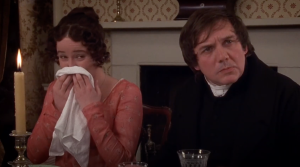 Elizabeth Bennet and Mr. Collins from the 1995 adaptation of Pride and Prejudice.